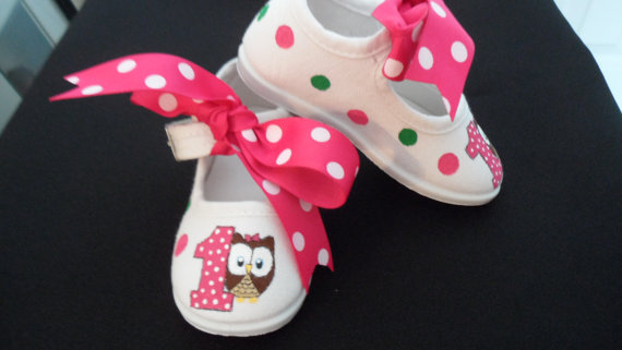 Polka Dot Owl Birthday Hand Painted Girls Shoes