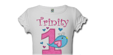 Polka Dot Bird Personalized Girls Birthday Shirts