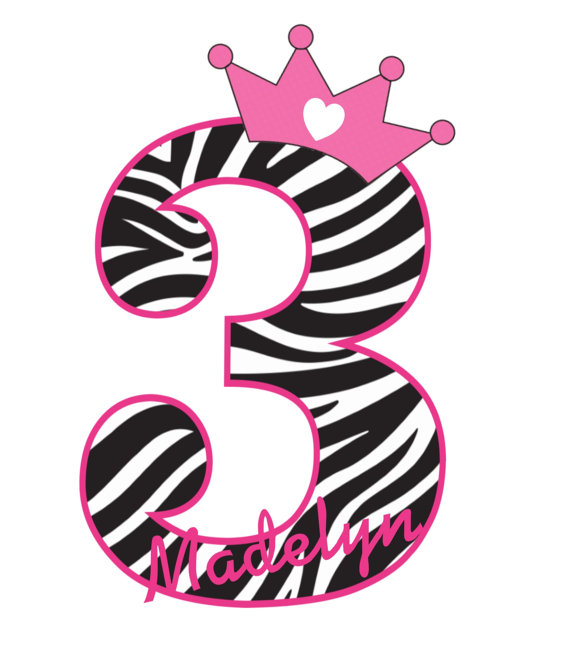 Pink Zebra Print Princess Personalized Birthday Shirts
