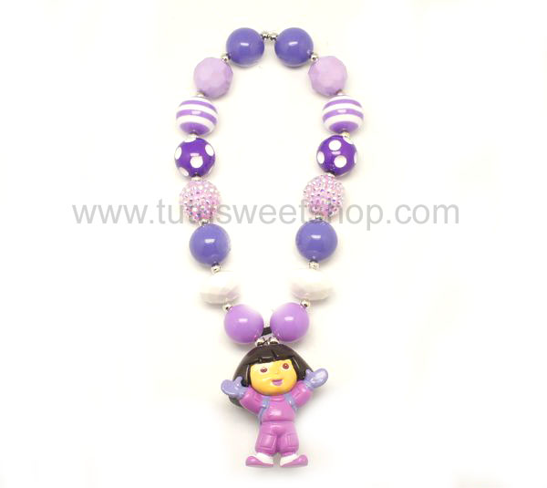 Purple and White Dora Gumballs Chunky Girls Necklaces