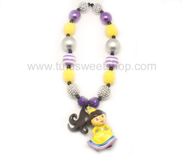 Purple and Yellow Dora Gumballs Chunky Girls Necklaces