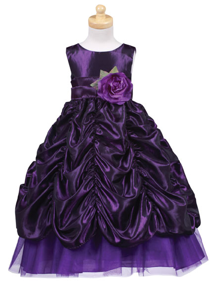 Purple Sleeveless Girls Formal Ruched Holiday Flower Girl Dresses
