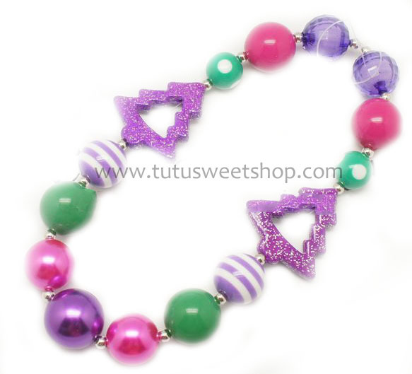 Oh Purple Christmas Tree Gumballs Holiday Chunky Girls Necklaces