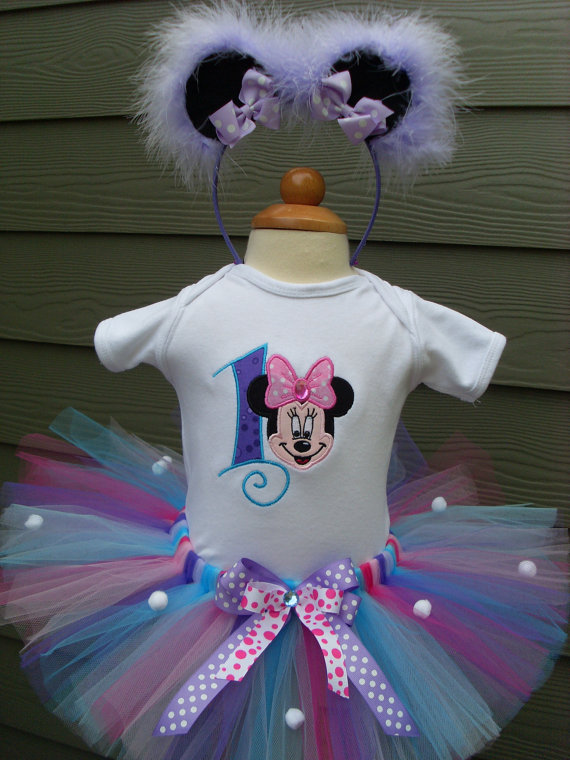 Personalized Multi Colored Minnie Birthday Tutu Outfit