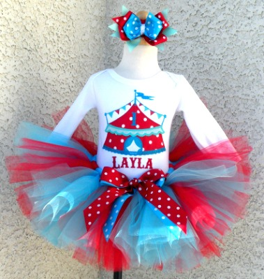 Embroidered Red and Blue Circus Birthday Outfit For Girls