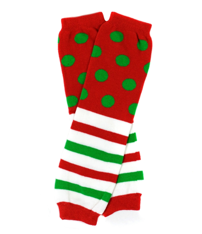 Polka Dot and Stripes Kids Christmas Legwarmers