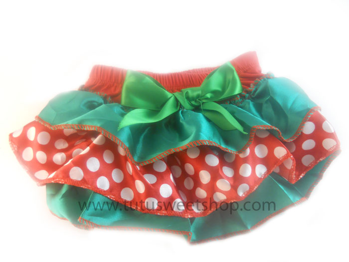 Red, Green and White Polka Dot Ruffled Christmas Diaper Covers