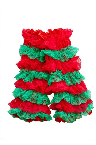 Red and Green Girls Ruffled Christmas Legwarmers