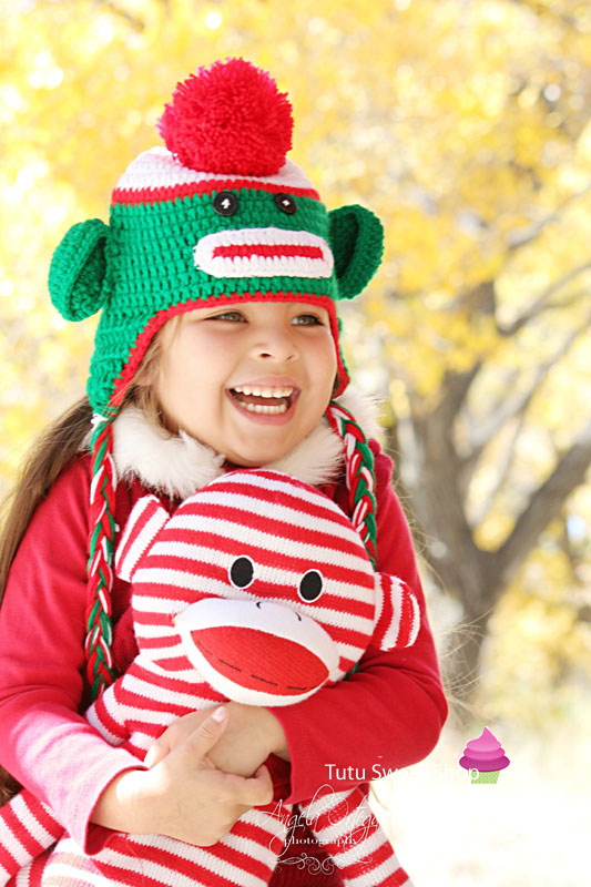 Red and Green Christmas Sock Monkey Crochet Hats For Kids