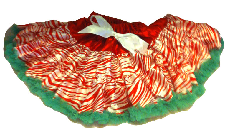 Red, White and Green Zebra Print Girls Christmas Pettiskirt