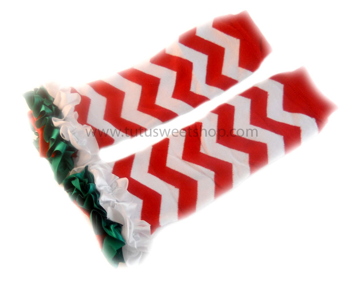 Red, White and Green Chevron Girls Ruffled Christmas Legwarmers