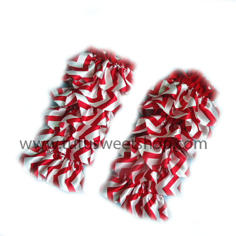 Girls Red and White Chevron Ruffled Legwarmers