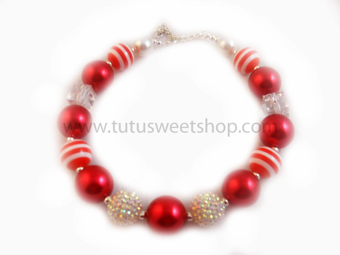 Red and White Gumball Chunky Girls Necklaces