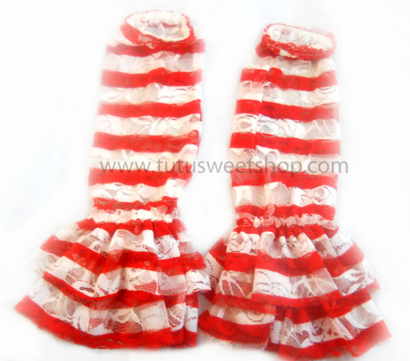 Red and White Striped Lace Legwarmers