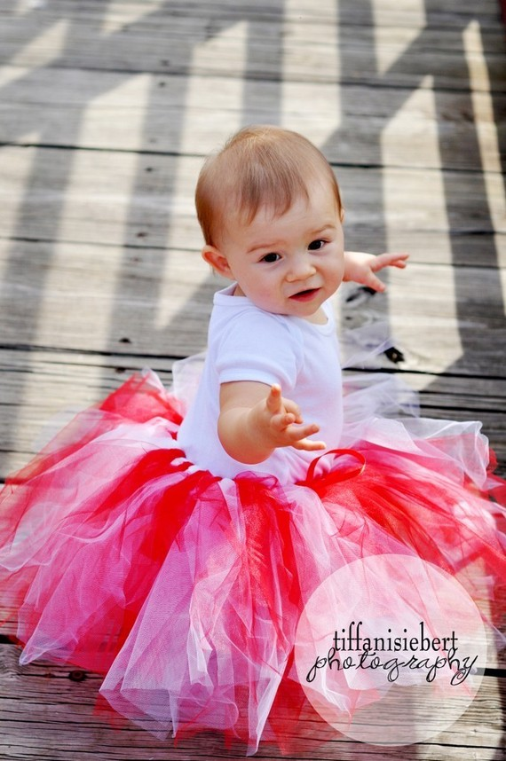 Whimsical Red and White Christmas Tutu Skirt