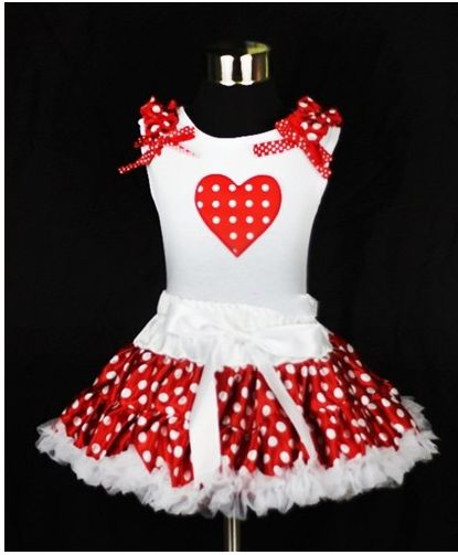 Red and White Heart Polka Dot Pettiskirt Outfit