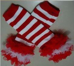 Red and White Striped Ruffled Petti Christmas Legwarmers