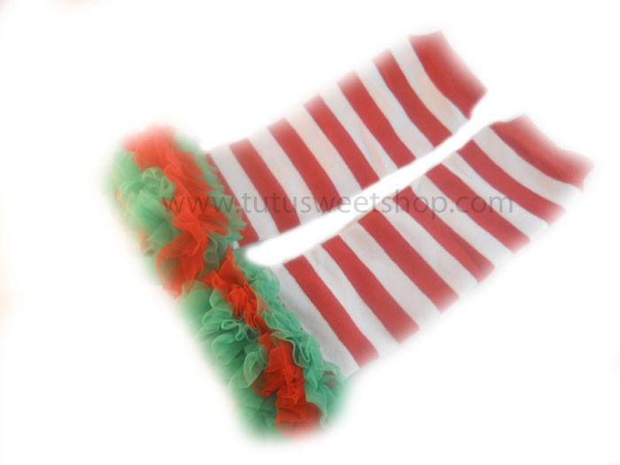 Red, White and Green Girls Petti Christmas Legwarmers