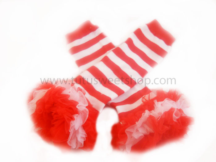 Red and White Striped Ruffled Petti Legwarmers