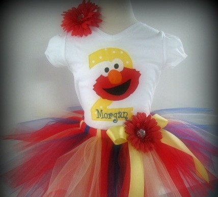 Personalized Red and Yellow Elmo Birthday Tutu Set