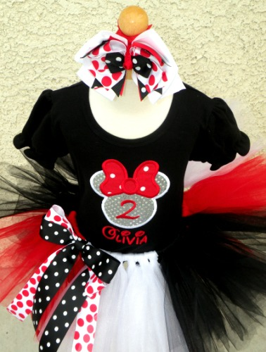Personalized Red, Black and White Cruella Girl Mouse Birthday Outfit For Girls