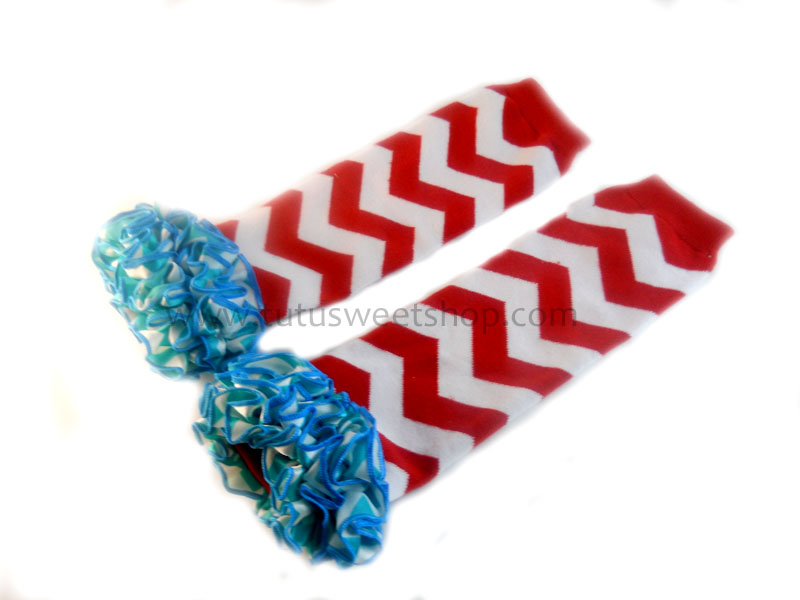 Dr. Seuss Inspired Red and Blue Chevron Legwarmers