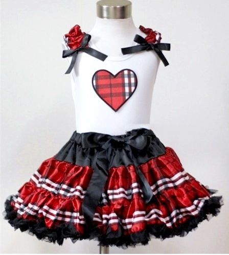 Red Plaid Heart Pettiskirt Outfit