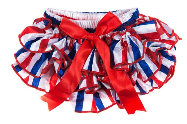 Red, White and Blue Striped Ruffled Diaper Covers