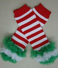 Red, White and Green Striped Petti Christmas Legwarmers