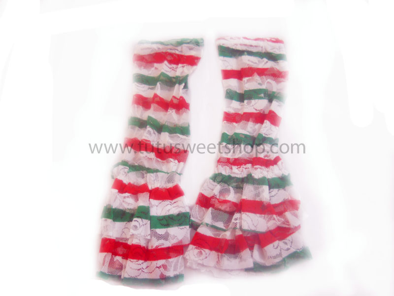 Red, Green and White Striped Lace Ruffled Legwarmers