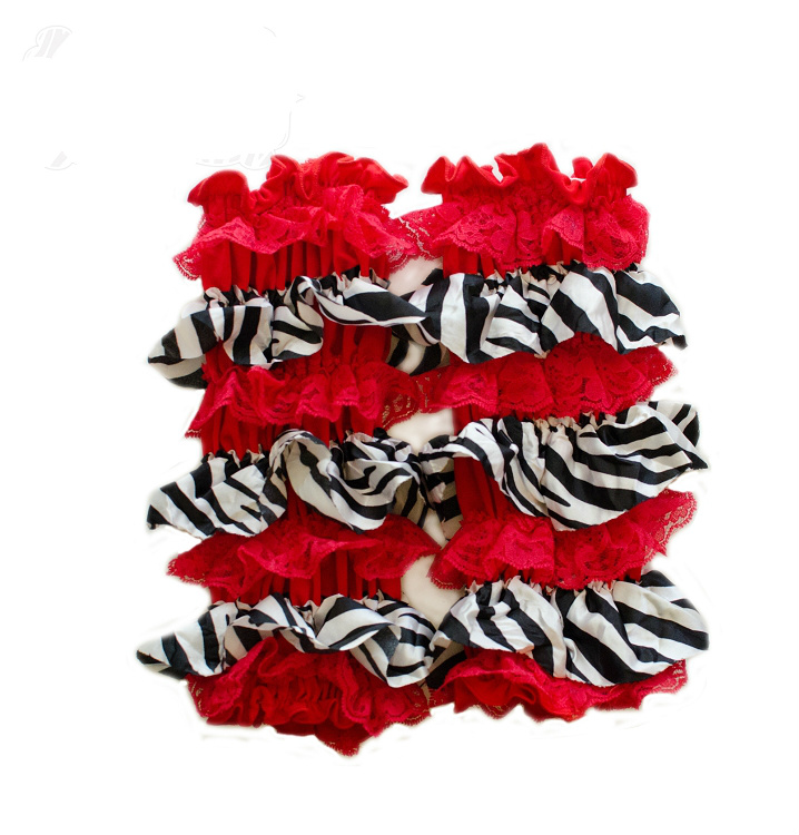 Red and Black Zebra Print Ruffled Legwarmers