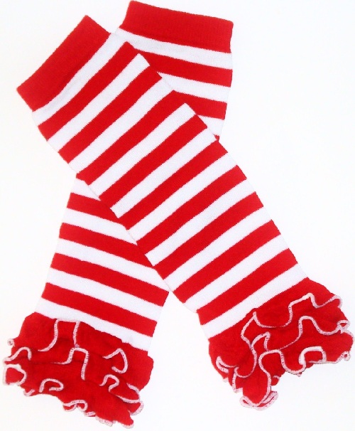 Red and White Striped Girls Ruffled Christmas Legwarmers