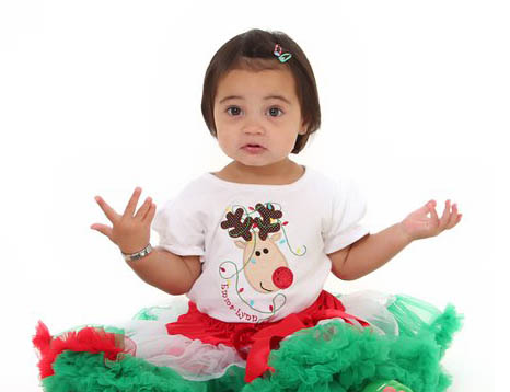 Personalized Red, White and Green Rudolph Pettiskirt Set