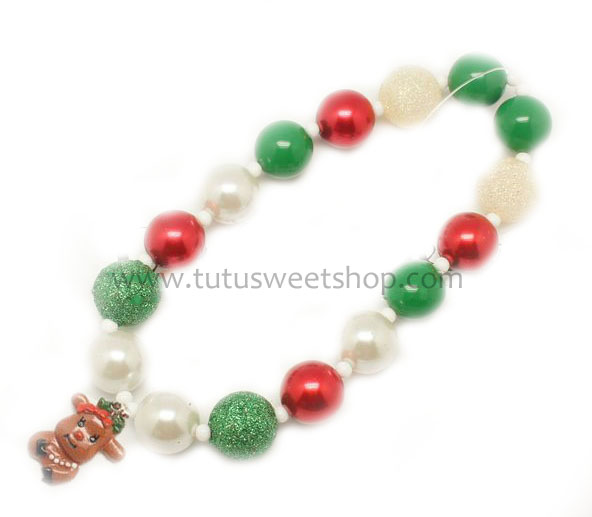Rudolph Reindeer Gumballs Holiday Chunky Girls Necklaces
