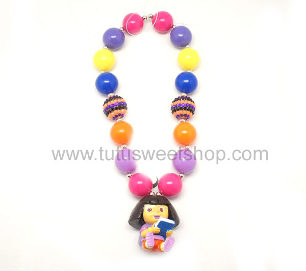 Book Worm Dora Gumballs Chunky Girls Necklaces