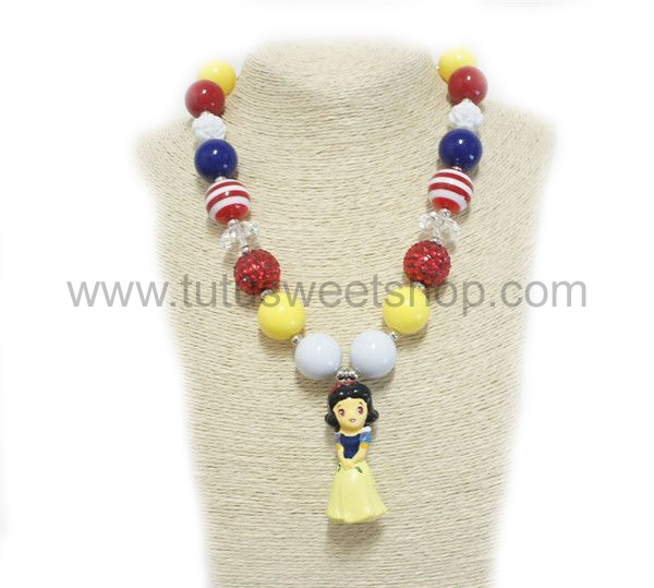 Princess Snow White Inspired Gumballs Chunky Girls Necklaces