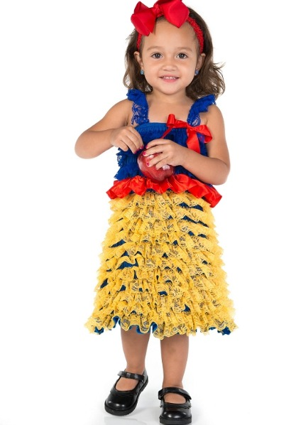 Yellow, Red and Blue Snow White Inspired Ruffled Lace Dress