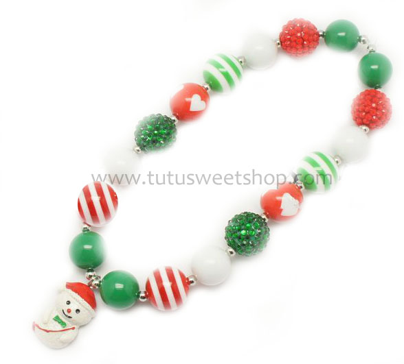 Frosty Snowman Gumballs Holiday Chunky Girls Necklaces
