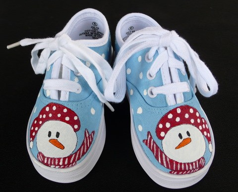 Snowman Hand Painted Toddler Shoes