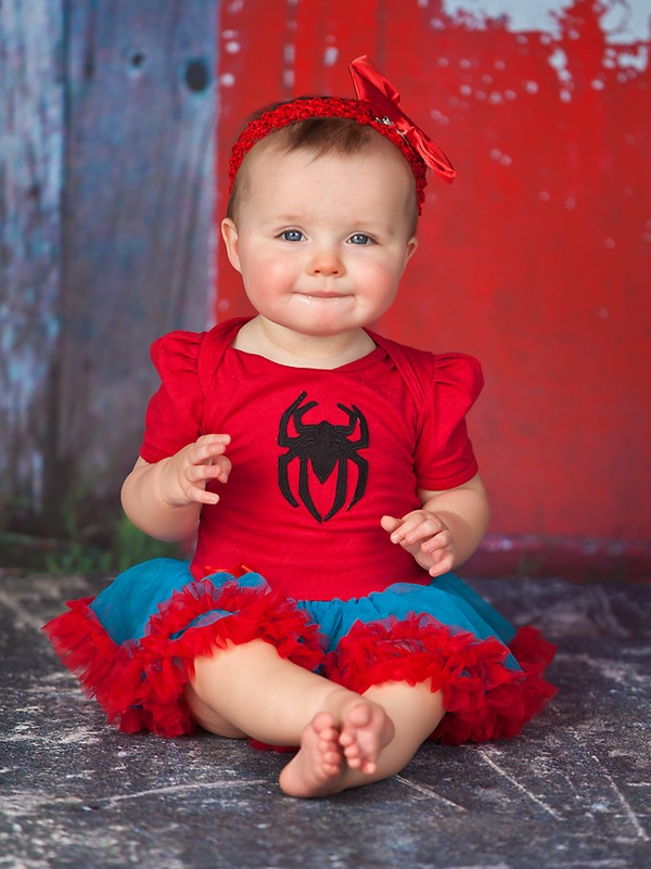 2 Piece Spiderman Inspired Halloween Baby Tutu Outfit Costume