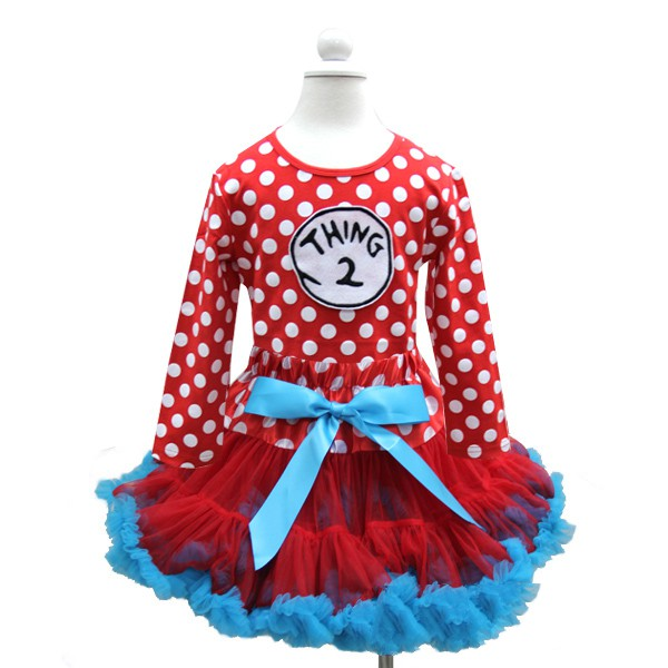 Thing 1 or Thing 2 Polka Dot Tutu Outfit For Girls