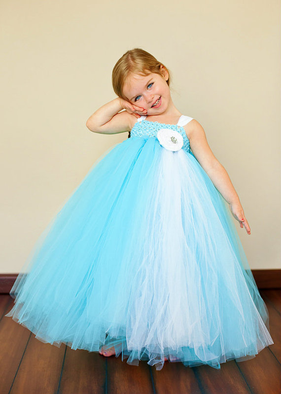 Tiffany Blue and White Flower Girl Tutu Dress
