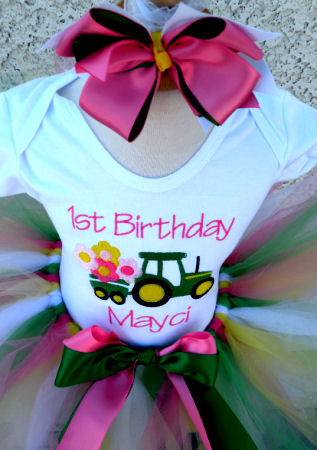 Embroidered Pink and Green Tractor Birthday Outfit For Girls
