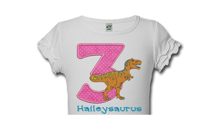 T Rex Personalized Girls Birthday Shirts