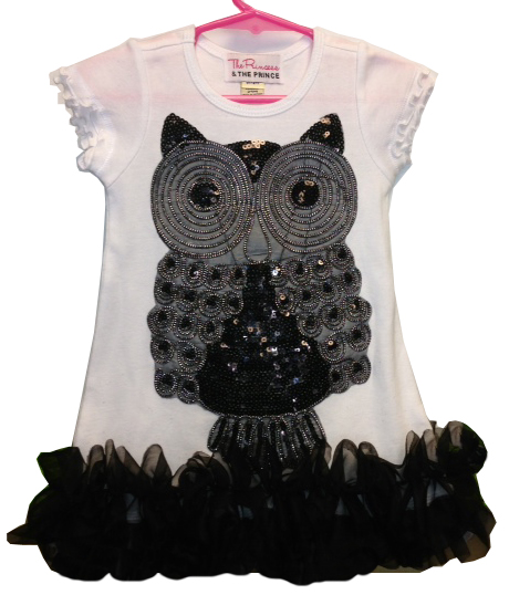 White, Black and Silver Owl Ruffle Dress