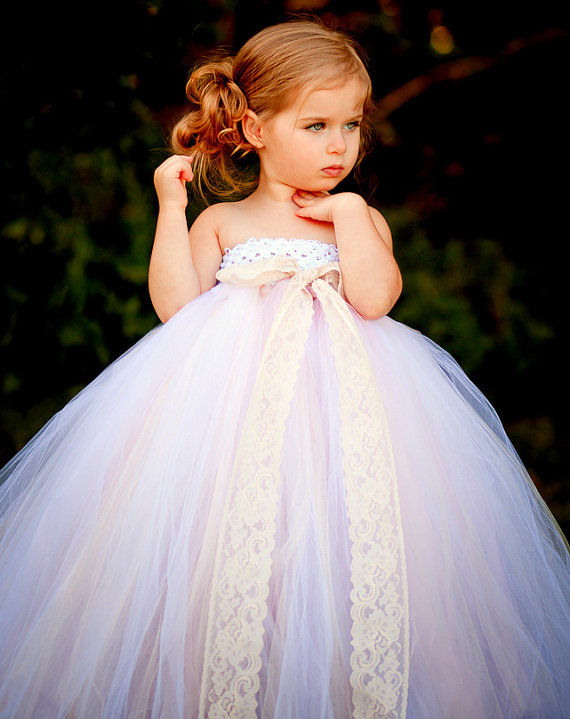 White Flower Girl Tutu Dress With Lace Detail