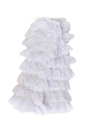 White Lace Ruffled Legwarmers