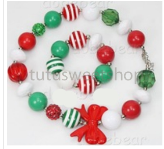 White, Red and Green Gumballs Bowlicious Holiday Chunky Girls Necklaces and Bracelet Set