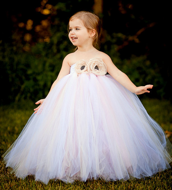 White and Soft Pink Vintage Flower Girl Tutu Dress