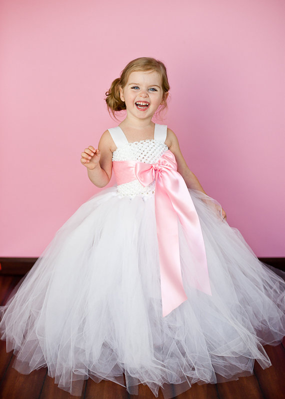 White and Pink Flower Girl Tutu Dresses